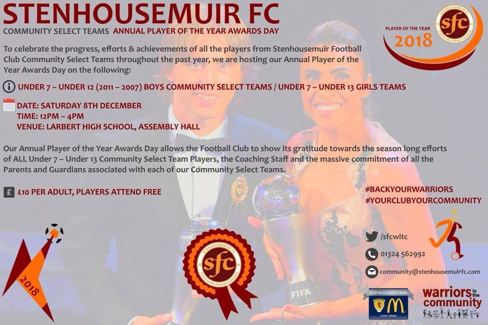 Stenhousemuir FC Community Select Teams Player of the Year Awards Day 2018