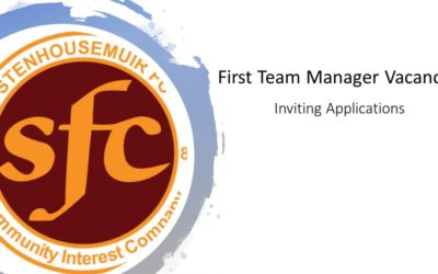 1st Team Manager Vacancy – FINAL CALL for applications