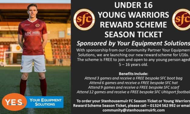 Stenhousemuir FC Launch Young Warriors Reward Scheme Season Ticket