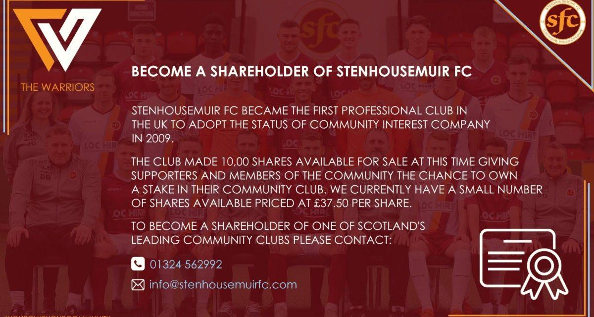STENHOUSEMUIR FC SHARES FOR SALE