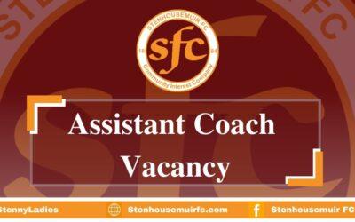 Vacancy – Senior Ladies Team Assistant Coach